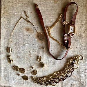 Festival 🍂earthy leather watch bracelet wrap gold
